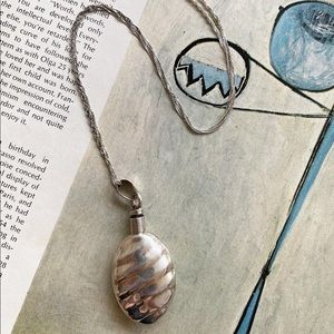 Vintage Sterling Silver Perfume Pendant Necklace